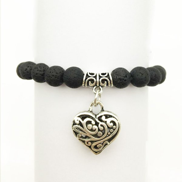 Antique Heart Charms Natural Black Lava Stone Beads Elastic Bracelet Essential Oil Diffuser Bracelet Volcanic Beaded Hand Strings Jewelry