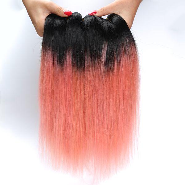 Extensiones rectas del pelo de 8A Ombre 1B / pelo humano de Ombre del oro de Rose 100g / PC armadura del pelo recto de dos tonos