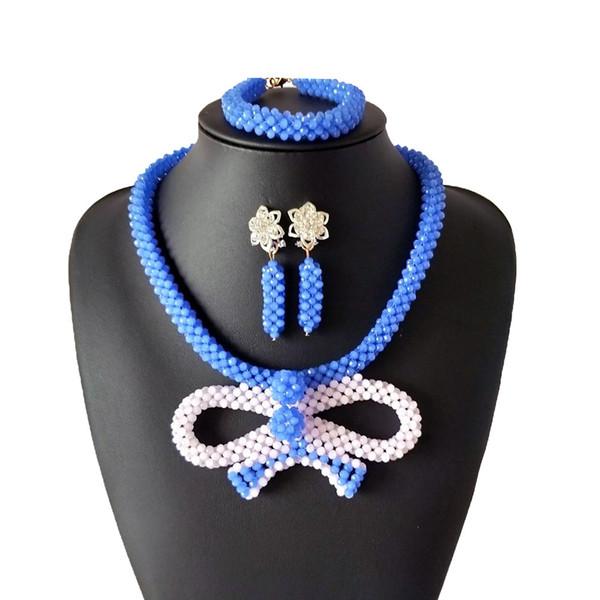Горячие Продажи Африканские Бусы Комплекты Ювелирных Изделий Синий Белый Дубай Свадебная Свадебная Одежда Ювелирные Изделия Нигерийские Бусы Заявление Ожерелье для Женщин