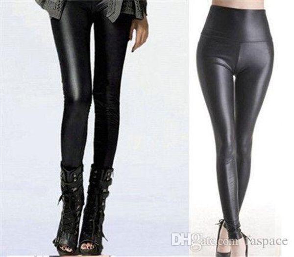Wholesale- Fashion Sexy Shiny Metallic High Waist Black Stretchy Faux Leather Slim Leggings Pants