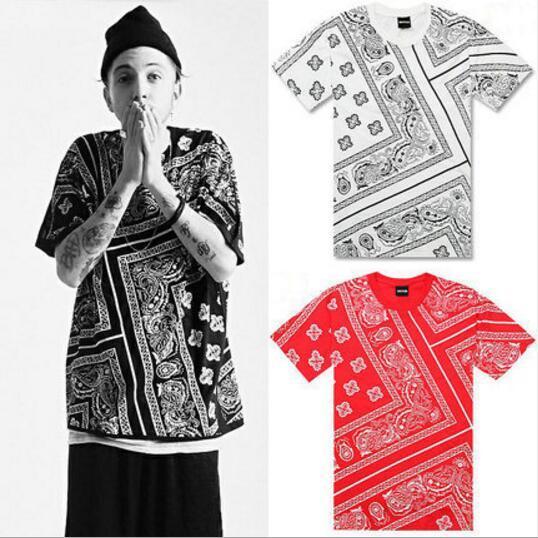 Verano última camiseta hombres Swag La Rhude Bandana impresión HARAJUKU Ktz flores anacardo Worldshine Hip Hop camiseta para hombre más el tamaño M-5XL