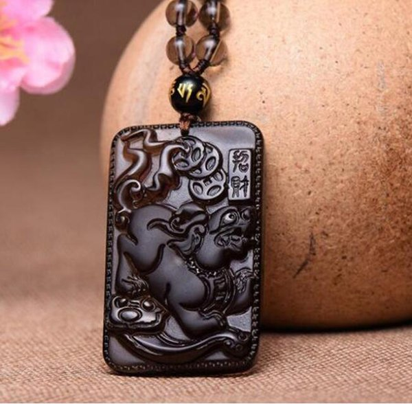 Fine Jewelry Natural Ice Obsidian Carved Brave Blessing Amulet Jade Pendants Fashion Charm Women Men Necklace
