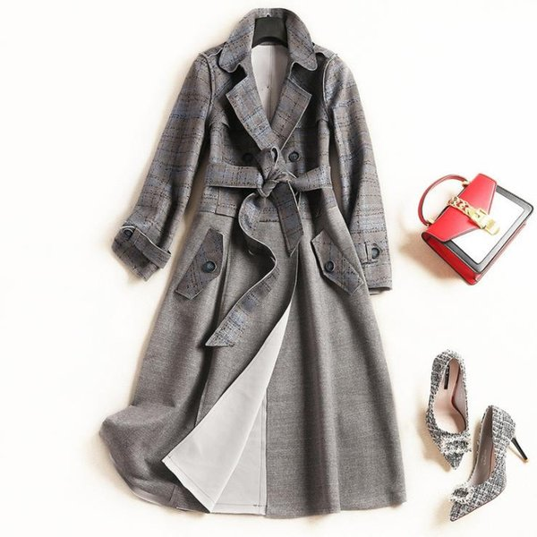 European and American women's wear autumn 2018 The new Long sleeve lapel lace-up Space cotton Fashion trench coat