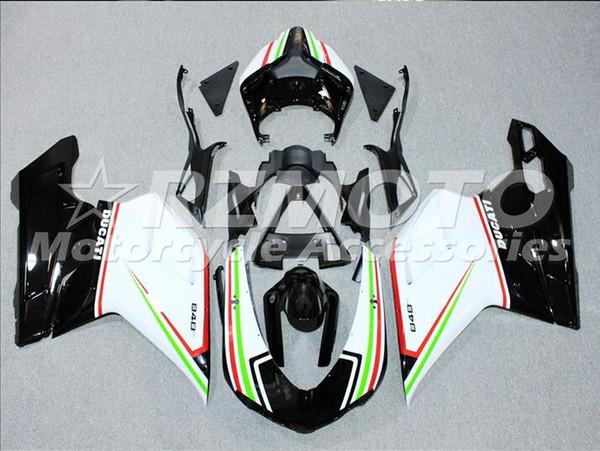 Inyección de carenados de plástico ABS para Ducati 1098 848 1198 Año 2007 2008 2009 2010 2011 2012 Motocicleta White Pearl Red T1