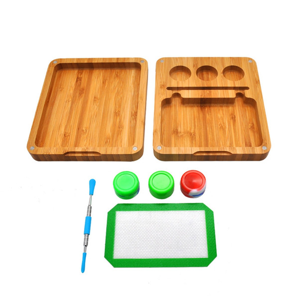 Newest Wood Store Operation interface Tray Kit Smoking Pipe Plate Herb Wax 5ML Silicone Box Spoon Multiple Uses High Quality DHL