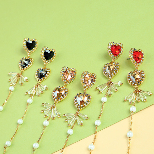 Slanw fashion wholesale 925 silver posting cute Super fairy crystal love earrings temperament Korean fashion trendy long peach heart earring