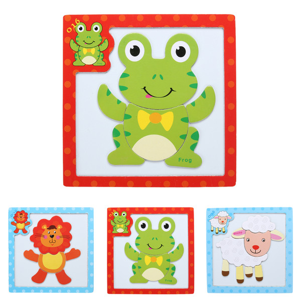 3D Magnetic Wooden Puzzle Jigsaw Puzzle for children Early Education WoodenToy Cartoon Animals Puzzles Table Kids Games