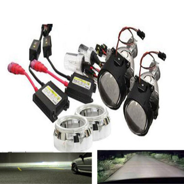 2.5 inch bixenon hid car Projector lens H1 H4 H7 car headlight Headlamp lamp bulb assembly kit free shipping Modify