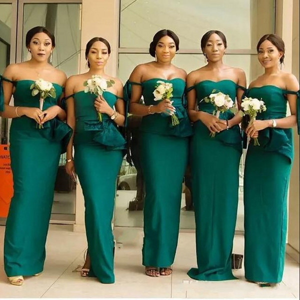 South African Off The Shoulder Mermaid Bridesmaid Dresses Peplum Satin Floor Length Maid Of Honor Dress Cheap Wedding Party Dress
