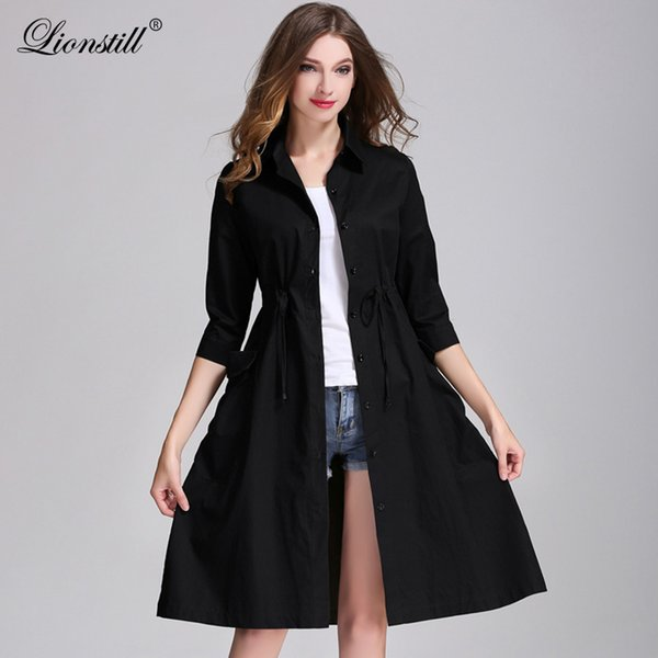 6dcbb9a30a24 Lionstill Women Autumn Elegant Long Sleeve Belt A-Line Trench Outerwear  Casual Pocket Button Embellished