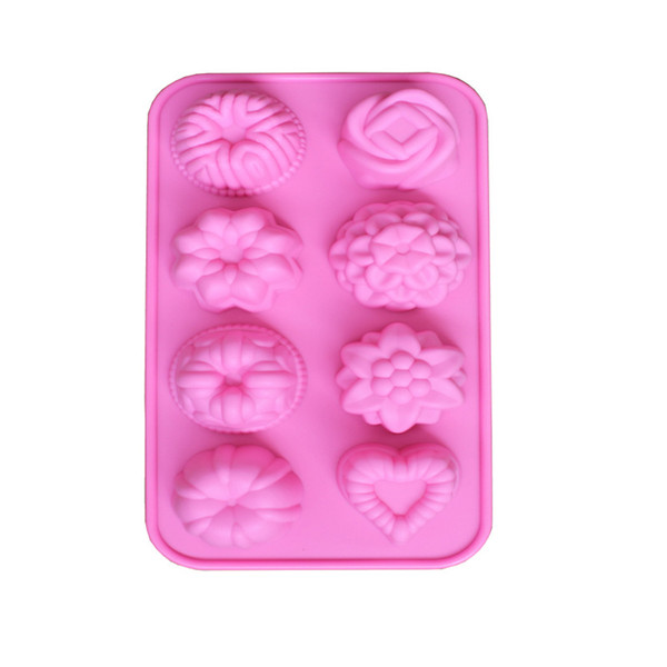 8 plants of silica gel cake mold silicon glue jelly mousse mold DIY baking mold cold handmade soap mould