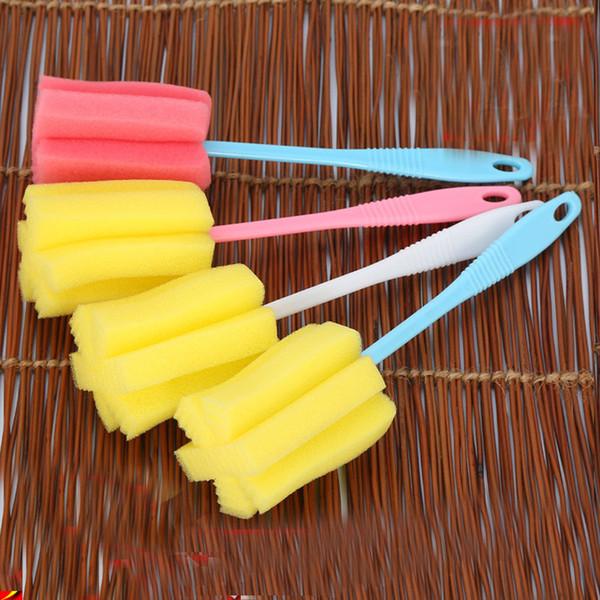 24cm * 6cm Simple Durable Long Handle Sponge Cleaning Brush Cup Bottle Bottom Scrubber Kitchen Cleaner Tool for Tea Glass Color Random