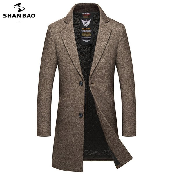 2018 winter new style luxury thick warm long wool coat british style fashion gentleman men's slim fashion coat, Black