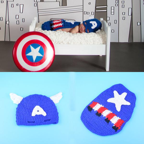 Crochet Captain America Neugeborenen Baby Boy Fotografie Requisiten gestrickte BABY Hut CAPE Set Neugeborenen Coming Home Outfit
