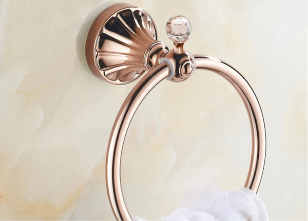 best selling wall mounted Towel Rings Luxury Crystal rose gold Chrome bath towel holder rack Stainless steel Towel Bar Bathroom hardware
