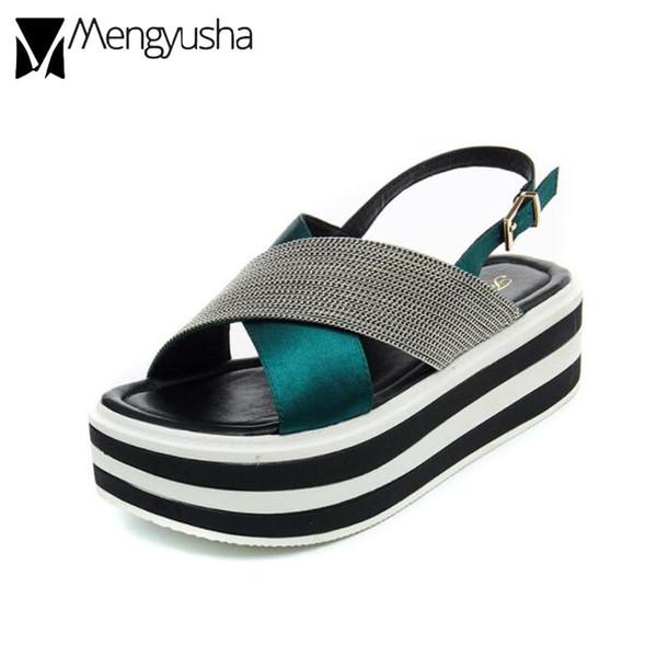 sandali di marca piattaforma donne estate cross-strap catene infradito verde muffin scarpe signore back strap zeppe sandalias mjuer