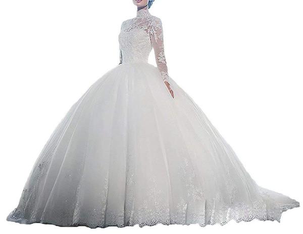 Women's Ball Gown Luxury Lace Long Sleeves Wedding Dress vestido de noiva 2018 Lace Wedding gowns white gown trouwjurken robe de mariee 2019