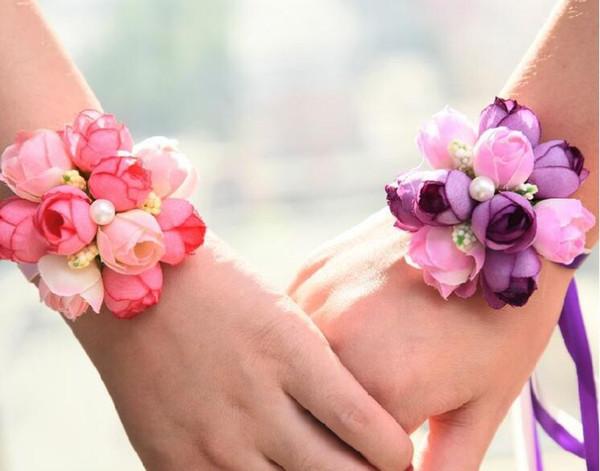 Wholsesle Wrist Corsage Da Dama De Honra Irmãs Mão Flores Artificiais De Seda Do Laço Da Noiva Flores Para Festa de Casamento Decoração de Noiva Prom