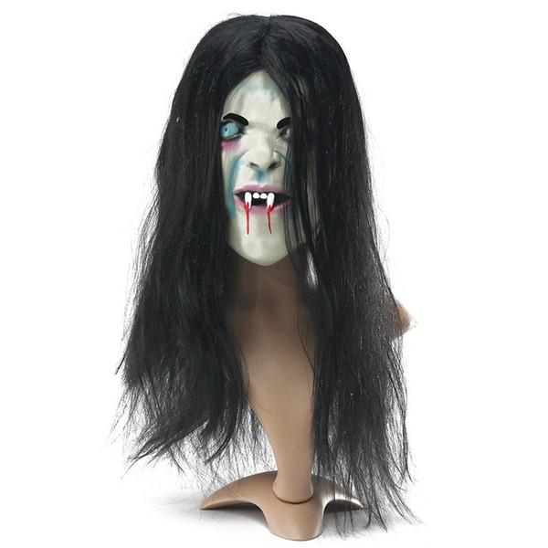 Halloween Horror Long SADAKO Ghost Hair Mask Adult Costume Scary Devil Full Face Latex Halloween Party Scary Mask