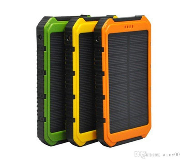 20000mAh Power Bank Ultra-thin Waterproof Solar Power Banks 2A Output Cell Phone Portable Charger Solar Powerbank Free shipping