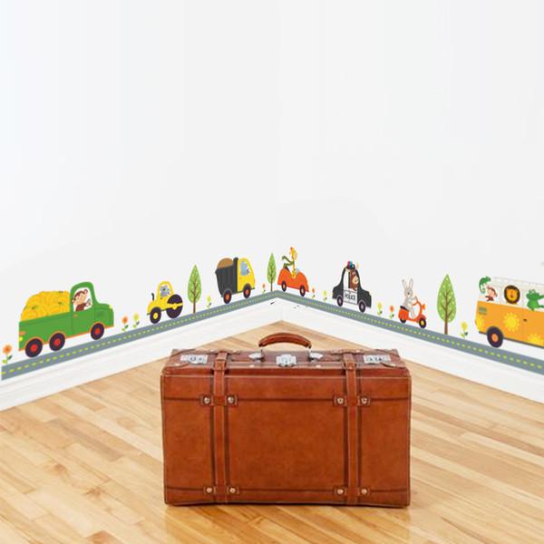 sticker for kids room Cartoon Car wall stickers For Kids Rooms Wall decals Children Bedroom kindergarten Home Decor