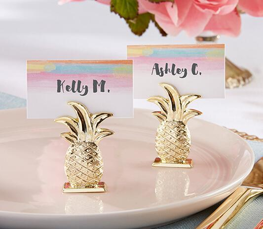 Promotion 12pcs/lot Wedding Favors Gold Pineapple Place Card Holder Table Decoration