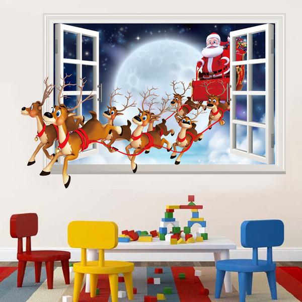 3D Natal Papai Noel Veados Adesivo De Parede Sala de estar Janela Do Falso Decalque Kids Room Removível Decoração NNA565