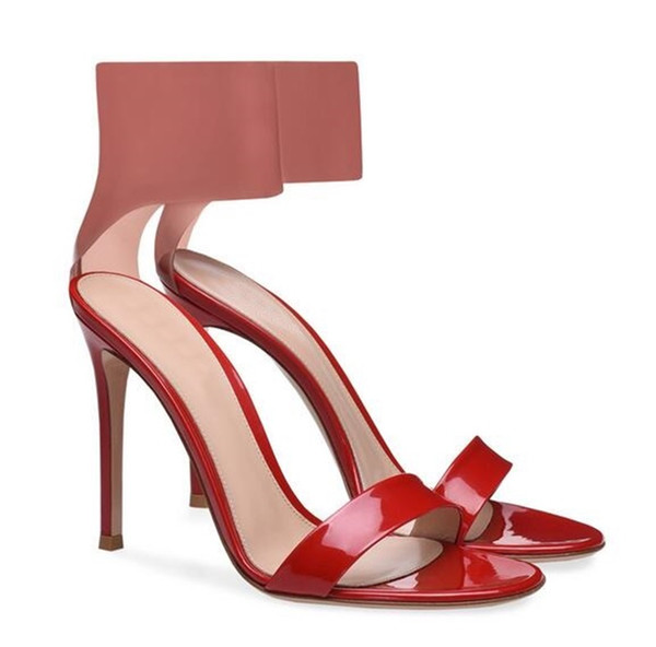 Sexy Women Ankle Wrap Sandals Double Color Patchwork Cover Heel Shoes Large Size 13 High Heels Gladiator Slip-on Stiletto Nightclub Sandals