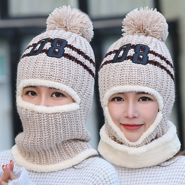 1a2cce7b7fa32 BINGYUANHAOXUAN 2017 knit Cap Scarf Cap two-piece Winter Hats For Women Fur Winter  Beanie Fleece Hat balaclava with Neckwa rmer S1020