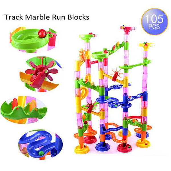 105Pcs New Marble Run Blocks Toy Play Set DIY Building Blocks Children Educational Toys Plastic Construction