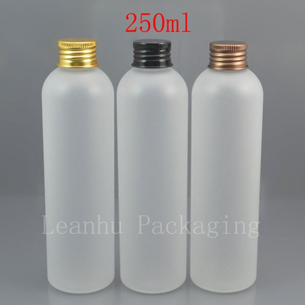 250ml x 25 empty frosting white cosmetic PET bottle with gold / black / bronze aluminum screw cap 250cc shampoo container