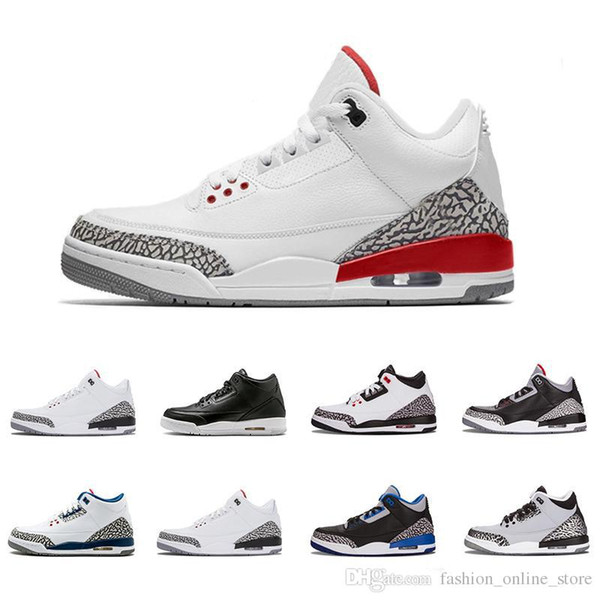 on sale d8edd 50dd6 2018 New Air Jordan 3 Men Retro Basketball Shoes White Cement Black Cat  Bred Military Money Fire Red Athletic Outdoor Sport Sneakers Summer Shoes  Best ...