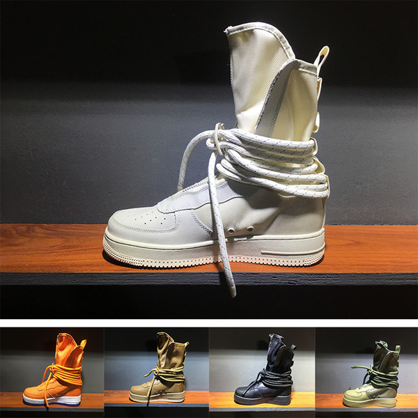 ( with box ) New Special Field SF High Running Shoes Men Sport Sneakers Women Genuine Leather High-top Boots Outdoor Casual Skateboard Shoes