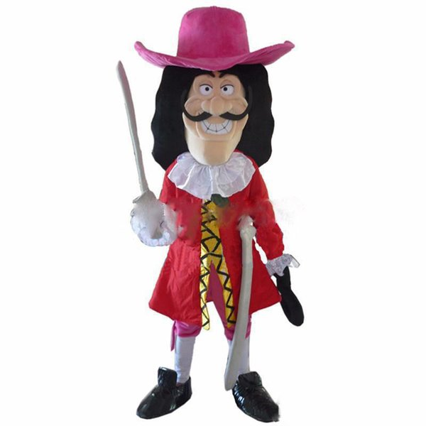 2018 High quality hot Vikings Pirate Captain Hook Mascot Costume Fancy Dress Adult Free Shipping