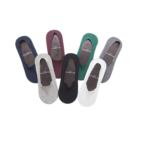 6 paires de chaussettes de bateau pour hommes Chaussettes de coton transparentes Calcetines No Show pour hommes Invisible Stretchy Gel de silice Non-slip Chaussettes Casual Meias