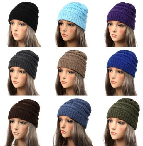 Winter Hüte für Frauen Beanie weibliche Hut warme Baggy Stretch Knit Chunky Kabel Beanie Ski Cap KKA6204