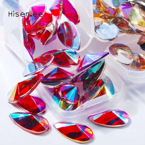 High quality four plaid fashion drop shape flat bottom acrylic super shiny rhinestone 3D nail art decoration accessories