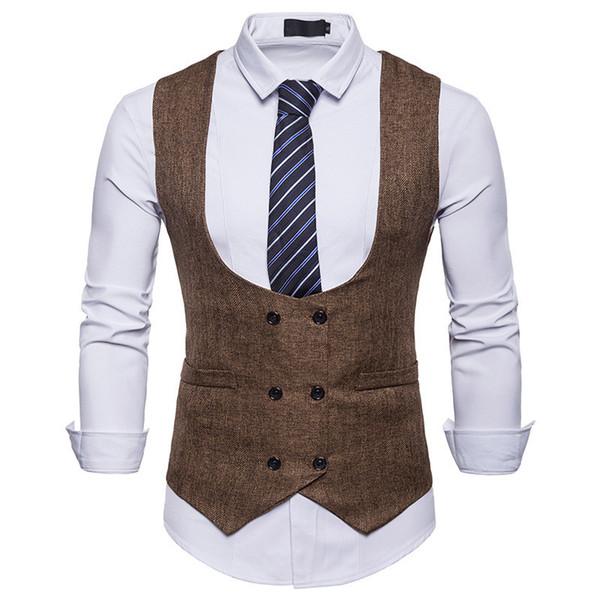 XMY3DWX Hombres Chaqueta sin mangas Chaleco de los hombres Chaleco de la manera Hombre del estilo británico Delgado de lana de algodón de doble botonadura Vintage chaleco