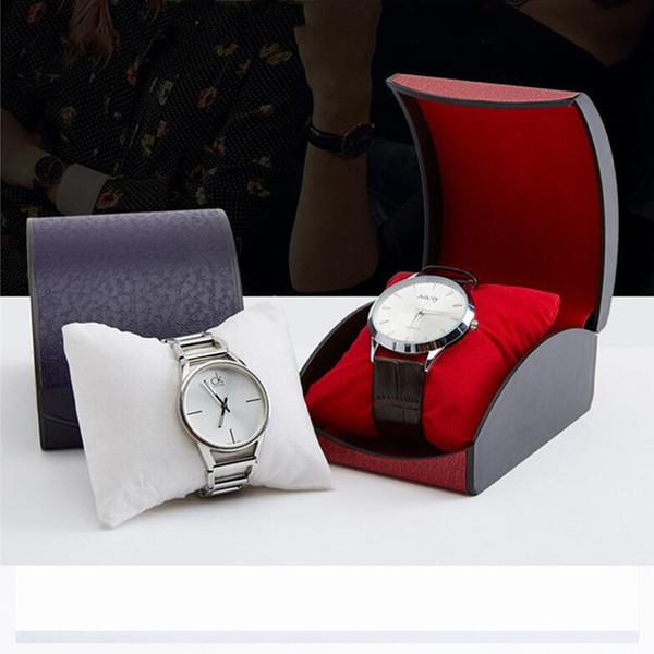 Scatole regalo di orologi di lusso Scatola di orologi gioielli Scomparto singolo imitare coriaceo Carta da viaggio gioielli Custodia da viaggio Organizer 0363