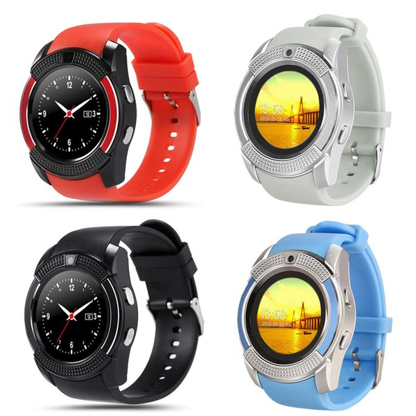 V8 Smart Watch Bluetooth Waterproof Pedometer Fitness Tracker Bracelet Sport Wristband 1.22 inch Round Screen Support TF Card Android