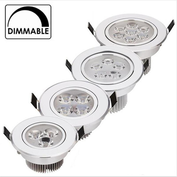 top popular 9W 12W LED Downlight Dimmable Warm White Nature White Pure White Recessed LED Lamp Spot Light AC85-265V 2019