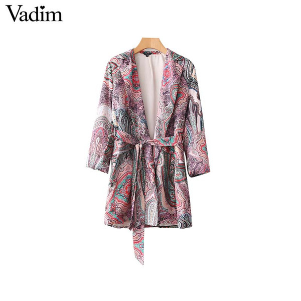 Vadim elegant paisley print loose kimono coat vintage blazer open stitch bow tie belt long sleeve outerwear casual chic tops