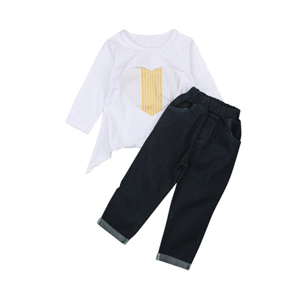 Casual Outfit Toddler Infant Baby Girl 2018 Long Sleeve White Heart Loose T Shirt Tops+Black Pants Autumn 2Pcs Set