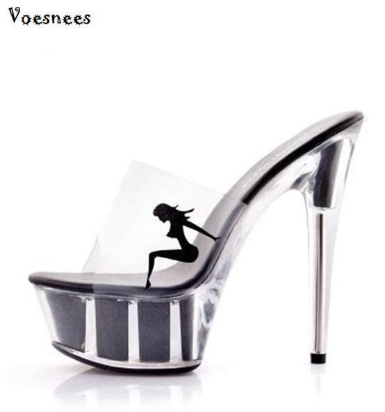Nova 2018 Sapatos Mulher Verão Elegante Salto Alto 15 CM de Vidro Transparente Fino Plataforma Sapatilhas Mulheres Sapatos de Aço Tubo de Dança