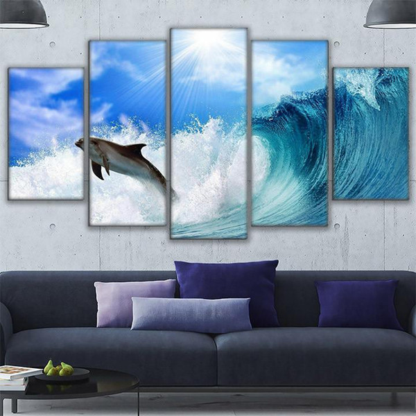 Frame HD Printed Wall Art Sea View Pictures 5 Pieces Dolphin Rides The Wave Canvas Painting Poster Living Room Home Decoration