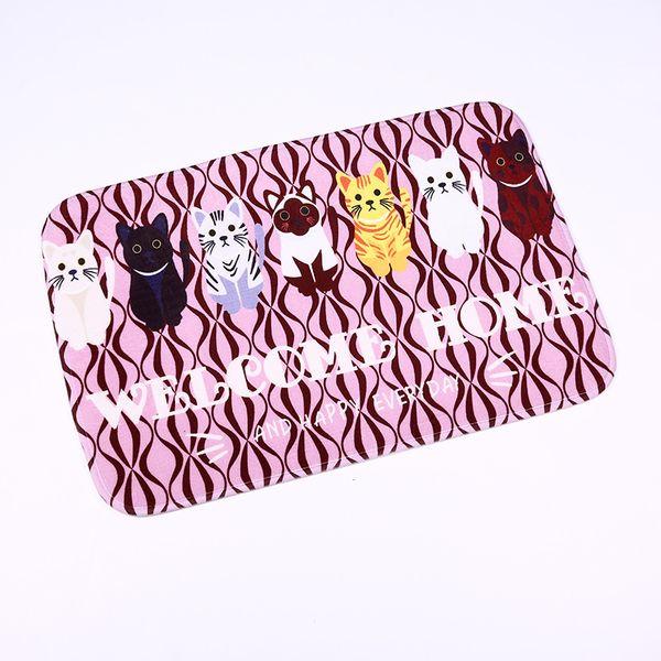 Doormat Carpets Cats Print Mats Floor Kitchen Bathroom Rugs 40X60CM Kitchen Mat Felpudo tapis de cuisine LYN&GY