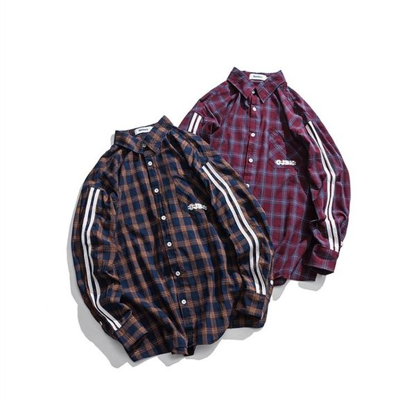 New European and American Autumn Men's Loose Sleeve Blouse Checker Jacket Hip Hop Brand Junior Card Blouse Manufacturers Wholesale and