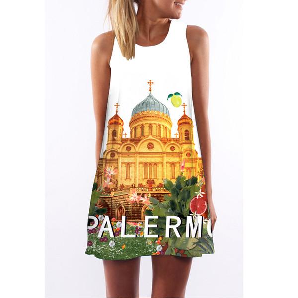 5 Sizes Urban Leisure Summer Fashion Castle 3D Digital Printed Polyester Dress Round Neck Sleeveless Midi Vest Skirt A0350
