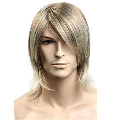 versandkostenfrei kurz blond kostüm gerade mittellang für männer zubehör cosplay haarperücken