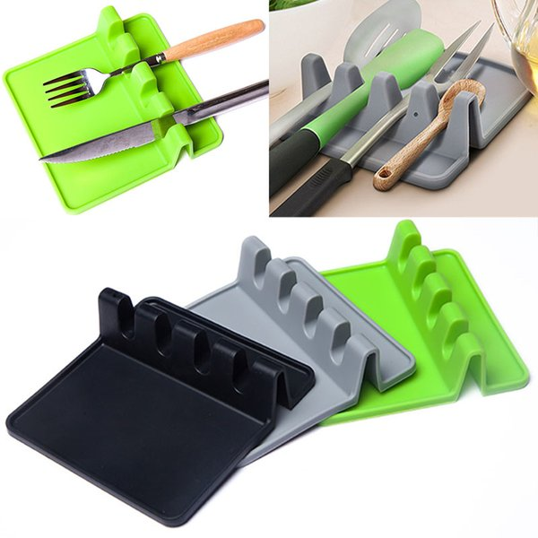 Silicone Mats Soup Spoon Pads Tableware Rack High Temperature Resistant Spatula Pad Kitchen Tools Easy To Clean WX9-943